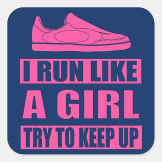 Corro como un chica pegatina cuadrada