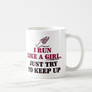 Corro como un chica (rojo) taza clásica