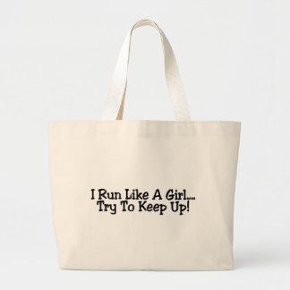 Corro como un intento del chica para continuar bolsa tela grande
