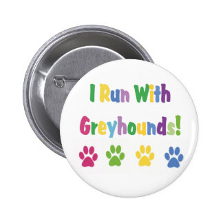 Corro con el botón de los galgos pin redondo de 2 pulgadas