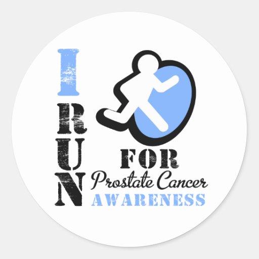 Corro para la conciencia del cáncer de próstata pegatina redonda
