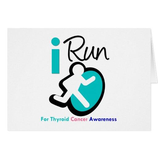 Corro para la conciencia del cáncer de tiroides tarjeta de felicitación