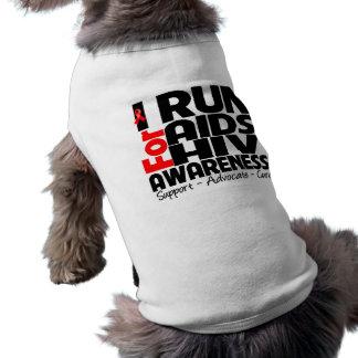 Corro para la conciencia del VIH del SIDA Playera Sin Mangas Para Perro