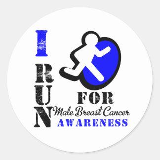 Corro para la conciencia masculina del cáncer de pegatina redonda