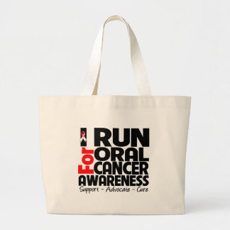 Corro para la conciencia oral del cáncer bolsa tela grande
