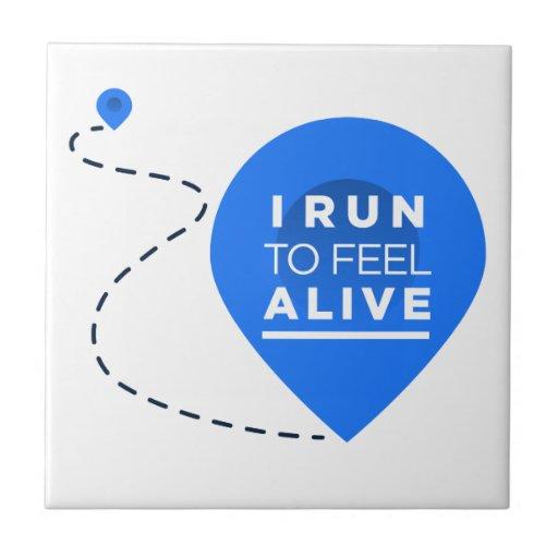 Corro para sentir VIVO - inspiración de funcionami Azulejo Cuadrado Pequeño