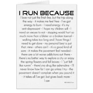 Corro porque buena suerte tarjeta