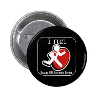 corro porque importa la conciencia del SIDA Pins