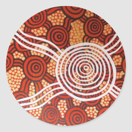 Corroboree II Aboriginal Art Round Sticker