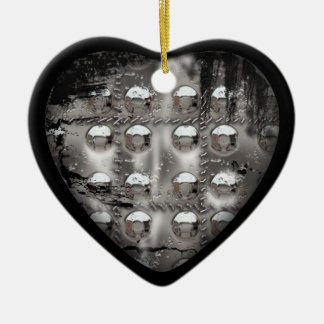 corroded heart ceramic ornament
