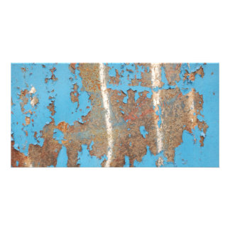 Corroded-metal1617 BLUE RUST TEXTURES METALS SHINY Photo Greeting Card
