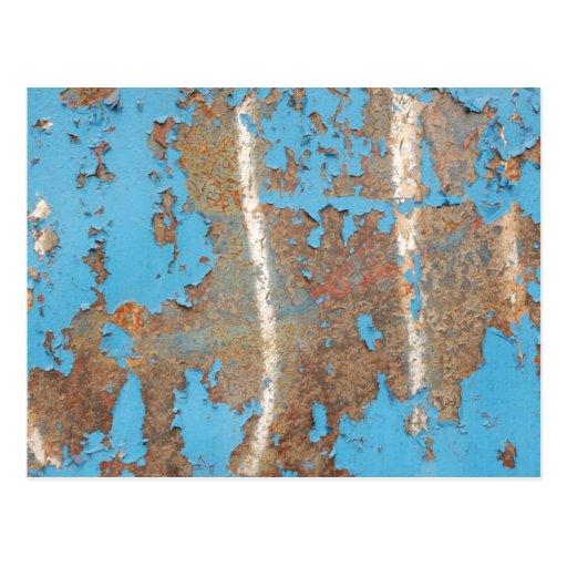 Corroded-metal1617 BLUE RUST TEXTURES METALS SHINY Postcard