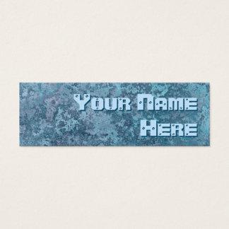 Corrosion blue print side text skinny mini business card