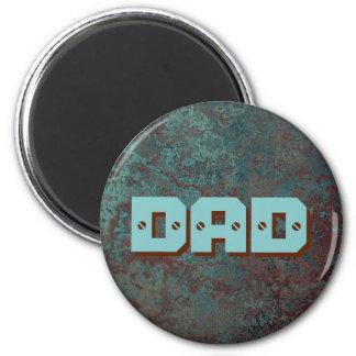 "Corrosion ""Copper"" print DAD fridge magnet round"