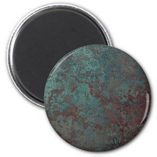 "Corrosion ""Copper"" print fridge magnet round"