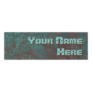 Corrosion copper print side text skinny business card templates