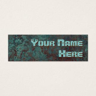 "Corrosion ""copper"" print side text skinny mini business card"