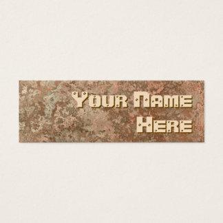 Corrosion orange print side text skinny mini business card