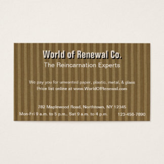 Corrugated Cardboard for Recyclers, Movers, Etc. Business Card
