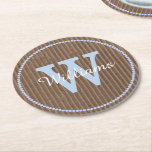 "Corrugated Cardboard Look Custom Paper Coasters<br><div class=""desc"">Stylish pulp board paper coasters done in a brown corrugated cardboard look,  with graphics of a light blue dotted circle around the outside edge.  Personalize the large light blue one letter monogram and white script text to suit your needs.  Great for anytime use and makes a nice gift idea.</div>"