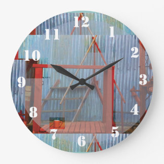 Corrugated Iron Vintage Factory Sheds Large Clock Wallclocks