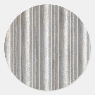corrugated metal classic round sticker