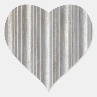 corrugated metal heart sticker