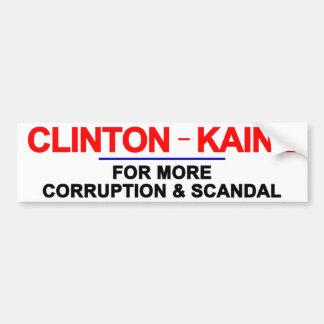 Corrupción y escándalo de Clinton Kaine Pegatina Para Auto