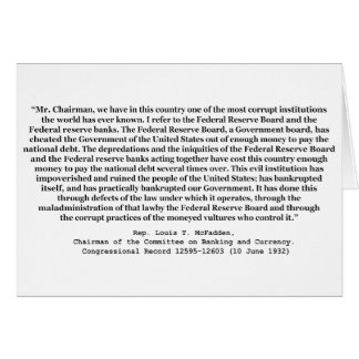 Corrupt Federal Reserve Quote by Louis T McFadden Card