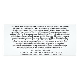 Corrupt Federal Reserve Quote by Louis T McFadden 4x9.25 Paper Invitation Card