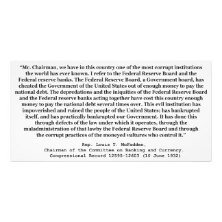 Corrupt Federal Reserve Quote by Louis T McFadden Photo Print