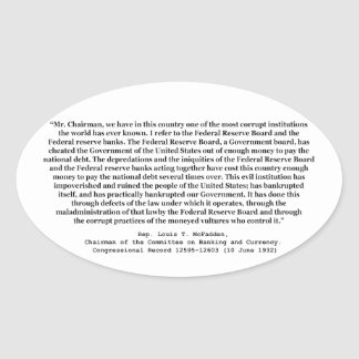 Corrupt Federal Reserve Quote by Louis T McFadden Stickers