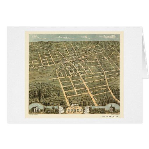 Corry, mapa panorámico del PA - 1870 Felicitación