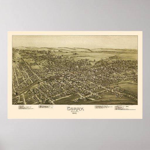 Corry, PA Panoramic Map - 1895 Print