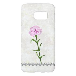 Corsage Frosty Opal Bokeh Pink Carnation Diamond Samsung Galaxy S7 Case