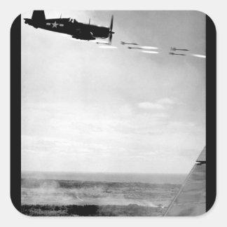 Corsair fighter looses its load of rocket_War Imag Square Sticker