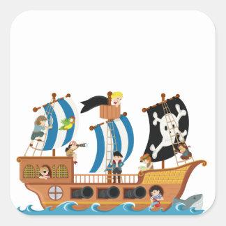 Corsario del barco pirata pegatina cuadrada