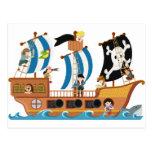 Corsario del barco pirata tarjeta postal