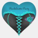 Corsé del azul del trullo del fiesta de calcomania de corazon personalizadas