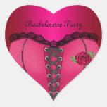 Corsé del melocotón del rosa del fiesta de pegatina corazon personalizadas