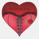 Corsé del rojo del negro del fiesta de calcomanías corazones personalizadas