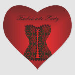 Corsé del rojo del negro del fiesta de calcomania de corazon
