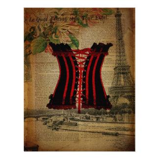 corsé del vintage de la flor de la torre Eiffel de Plantilla De Membrete