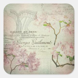 Corsé lamentable de las flores de la escritura pegatina cuadrada