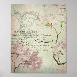 Corsé lamentable de las flores de la escritura póster