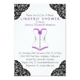 """Corsé púrpura y ducha negra de la ropa interior invitación 5"""" x 7"""""""