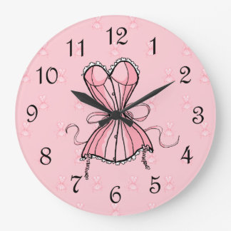 Corsé rosado coqueto reloj de pared