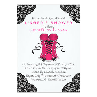 """Corsé rosado y ducha negra de la ropa interior del invitación 5"""" x 7"""""""
