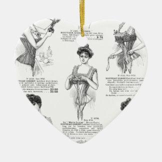 Corsés del francés del vintage de Marche del Bon Adorno Navideño De Cerámica En Forma De Corazón