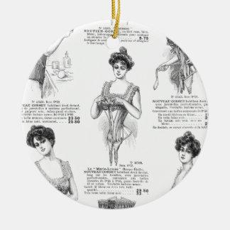 Corsés del francés del vintage de Marche del Bon Adorno Navideño Redondo De Cerámica